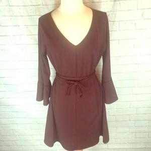 Fit and flare dress with bell sleeves